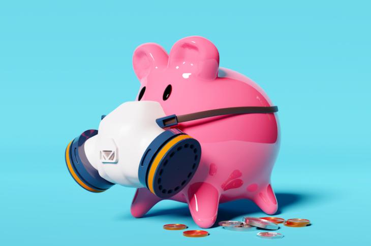 gris med munnskydd