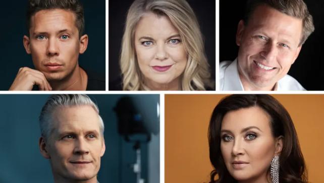 Bild på fem klara författare på Bokmässan i Göteborg 2021